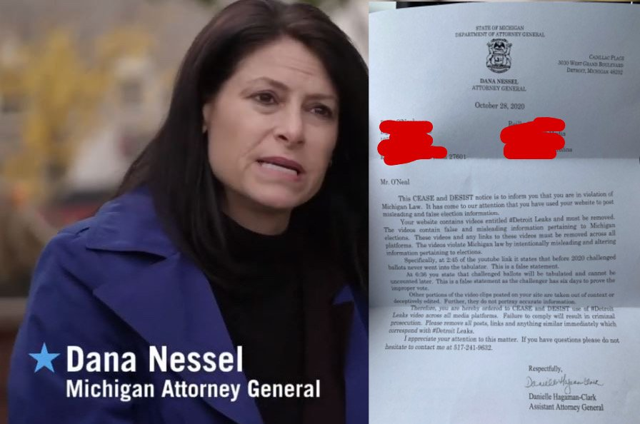 Michigan AG Sends 'Cease and Desist' Order to Journalist Demanding He Erase His Videos Showing Voter Fraud Training — OR FACE CRIMINAL PROSECUTION